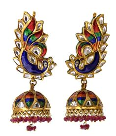 Earrings - Polki - Jindels Gem and Jewellery Pictures Jewellery Sketches, Jaipur, Ethereal, Fasion, Wedding Jewelry, Gems, India, Jewels, Unique