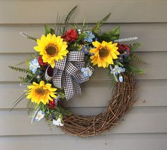 Spring Wreath Summer Wreath Sunflower Wreath All Season
