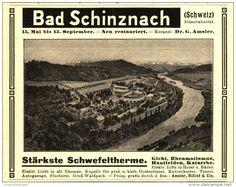 Original-Werbung/Inserat/ Anzeige 1907 - BAD SCHINZNACH (SCHWEIZ) / SCHWEFELTHERME - ca. 115 x 90 mm