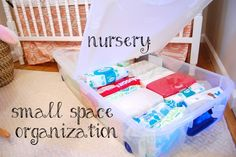 small space organization in our small nursery. Why didn't I think of clear view totes under his bed?!