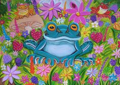 Frogs And Flowers Painting by Nick Gustafson