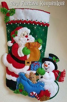 Christmas Stocking, Santa's List, Santa Claus Stocking, Snowman Stocking, Felt…
