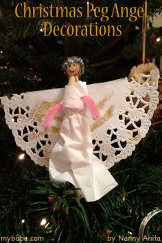 Christmas Craft Peg Angels to decorate your Christmas tree with.