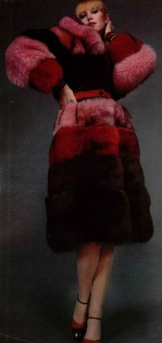 Emmanuel Ungaro coat, fox fur dyed in pink, red, maroon and brown, 1973.1970s fashion