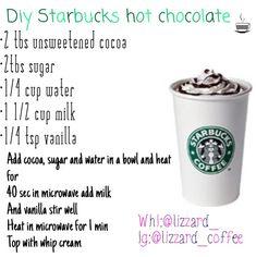 uploaded by Liz on We Heart It Starbucks diy! Healthy Starbucks Drinks, Starbucks Secret Menu Drinks, Yummy Drinks, Starbucks Coffee, Coffee Drink Recipes, Coffee Drinks, Iced Coffee, Hot Chocolate Recipes, Homemade Hot Chocolate
