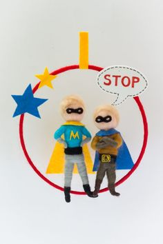 Needle felted, personalized super hero brothers mobile