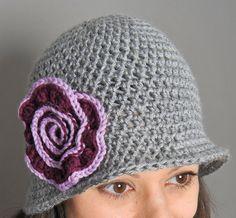 Crochet Pattern  Brimmed Hat with Swirl Flower by petalstopicots, $4.00
