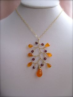 Carnelian and Garnet Branch Pendant Wire wrapped Pendant