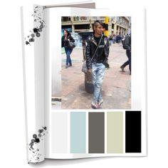 Paleta de color: Colores Fríos (Negro, gris,cafe y blanco) Ropa: Jeans, camiseta,chaqueta de cuero con apliques de tache.  Accesorios:Morral Es de temperamento fuerte, silencioso.