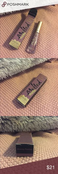 Too Faced Melted Matte lip The cute grey/purple that is popular now. I bought a second because I couldn't find my original and then I found it after I bought and before I used it  Want a lower price? Make an offer! Sephora Makeup Lip Balm & Gloss