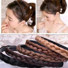 Fashion Bohemia Elastic Rhinestone Synthetic Wig Headband Braid Plait Hair Band Headbands China