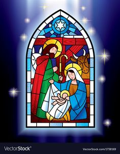 Buy Christmas Stained Glass Window by romay on GraphicRiver. Isolated raster version of vector image of the stained glass window depicting Christmas scene against a luminescent b. Christmas Yard Art, Stained Glass Christmas, Christmas Nativity, Christmas Ornament, Christmas Decorations, Stained Glass Quilt, Stained Glass Patterns, Stained Glass Windows, Pixel Art