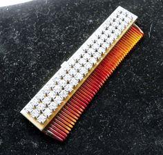 Vintage Antique Clear Rhinestone Sliding Retractable Celluloid Comb