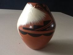 J. F. Toya Jemez Pottery Native American Pueblo Indian Small Feather Bowl / Vase