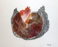 """Serbiske Marijana Oro søger i hendes værker efter en glorificeret og mirakuløs verden akkompagneret af pittoreske former. Hendes værker er fyldte med naturlige, flydende og bølgende former. Tilsyneladende tilfældige """"pletter"""" bliver til gådefulde repræsentationer af naturen, guldsmede, sommerfugle, granatæbler eller fantasivæsener. Hendes streg hækler de smukke billeder sammen til fantastiske mønstre."""