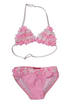 This little pink two piece swimsuit is as sweet as cotton candy. Prepare to be charmed by all the tiny flowers covering the triangle top and at the waist of the bikini bottom. Baby Bikini, The Bikini, Two Piece Bikini, Two Piece Swimsuits, Pink Two Piece, Girl Outfits, Cute Outfits, Candy Stripes, Striped Bikini