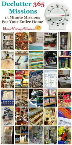 Join the free Declutter 365 missions to get a plan for how to declutter your entire house over the course of the year, 15 minutes at a time. These missions deal with all rooms of your home, lots of types of common objectswe all have, and even has missions for digital clutter! #Declutter365 #Decluttering #Declutter