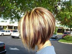 Inverted Bob Haircut with Red Blonde & Brown Highlights