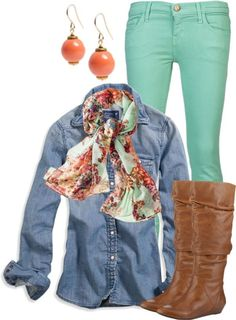 Coral top & Mint jeans – Oh So Glam im pretty sure i own that necklace =)  Image source