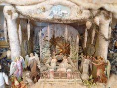 German cotton winter snow covered nativity scene. German Dresden Christmas nativity card