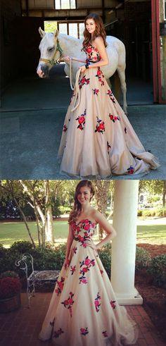 floral long prom dress, 2018 long prom dress, strapless floral long prom dress graduation dress ball gown