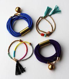 Friendship Bracelet - Bracelet with Tassel - Color block Bracelet - Layering Bracelet - Gold Gem Bracelet