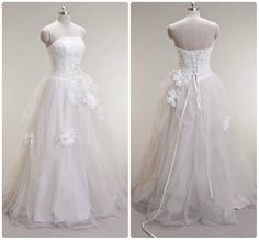 Tulle/ Satin Strapless Beaded Ball Gown with Rhinestones & Flowers. Fairytale Princess Wedding Dress