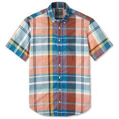 6d29937e740 Gitman Vintage Big Teal Madras Button Down Madras Shirt