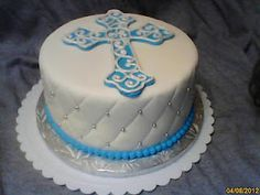 Catholic Baptism Cake...    would match the cake pops and cupcakes....