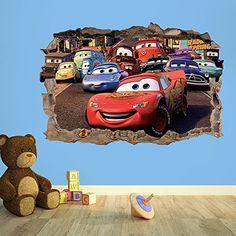 CARS 3D KIDS WALL STICKER 3D BEDROOM BOYS GIRLS (100cm (w) x 70cm (h))