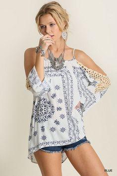 Umgee USA Open Crochet Sleeve Hippie Top