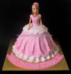 Barbie Doll Cake (Fondant frosting) Chocolate Cake, around Repeat order dari Nurul. Barbie Torte, Bolo Barbie, Barbie Cake, Barbie Dolls, Fondant Cakes, Cupcake Cakes, Shoe Cakes, Princess Theme Cake, Princess Cakes