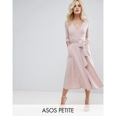 ASOS PETITE Crepe Wrap Midi Dress (64 CAD) ❤ liked on Polyvore featuring dresses, petite, pink, v-neck dresses, petite midi dress, midi dress, pink wrap dress and asos dresses