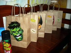superhero party hand-made goodie bags