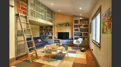 Kids room or play room with lots of storage.