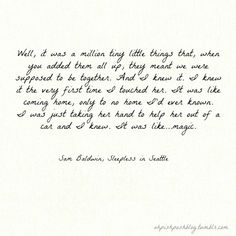 """Sleepless in Seattle - 21 Greatest Romantic Movie Quotes ... [ more at http://beauty.allwomenstalk.com ] """"Well, it was a million tiny little things that, when you added them all up, they meant we were suppose to be together… and I knew it. I knew it the very first time I touched her. It was like coming home… only to no home I'd ever known… I was just taking her hand to help her out of a car and I knew. It was like… magic.""""... #Beauty #Love #Demarco #Greatest #Movie #Things"""