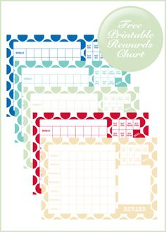 Free printable rewards chart - 6 colours to choose from.
