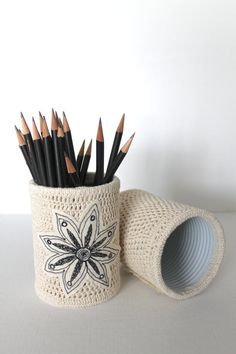 SINGLE Crochet Pencil Holder Up-cycled Office Organizer FLOWER Handmade Gifts Organic Home Decorating