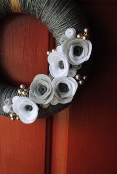 Yarn Wreath Handmade Felt Decoration  Winter Wonder by SasiRose, $35.00
