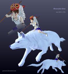 Mononoke Hime + wolf by Pyroxene.deviantart.com on @deviantART