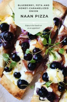 A little bit of sweet and a whole lot of savory — this Blueberry, Feta and Honey-Caramelized Onion Naan Pizza is irresistible (and goes well with a glass of wine! Enjoy it for lunch or as an appetizer! This recipe will surely surprise your tastebuds! Quick Recipes, Pizza Recipes, Appetizer Recipes, Healthy Dinner Recipes, Vegetarian Recipes, Cooking Recipes, Healty Dinner, Appetizers, Gastronomia