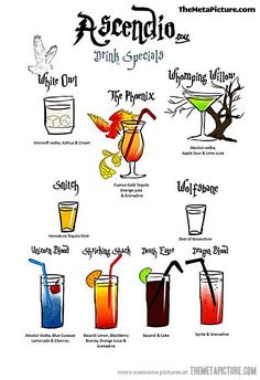 Harry Potter Drink Specials…