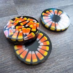 Adorable Resin Halloween Candy Corn Coasters #resincoasters #candycorncoasters #halloweencoasters #halloweencraftstomake