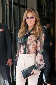 Jennifer Lopez Photos - Jennifer Lopez wears a sheer floral blouse as she leaves The Mark Hotel in New York City. - Jennifer Lopez Leaves Her NYC Hotel J Lo Fashion, Fashion Looks, Womens Fashion, Chic Outfits, Spring Outfits, Fashion Outfits, Jennifer Lopez Photos, Jennifer Lopez Outfits, Mode Style