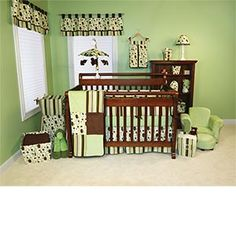 if we have a boy i love browns and greens (compromise to josh wanting CAMO! ha) love this style room!! this is a 14 piece set on amazon-and the lil bear mobile over the crib...how perfect?!