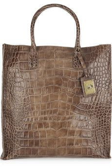 Brown Croc-effect leather tote. $530.00