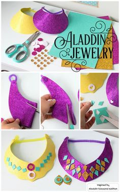 Easy to make glitter Princess Jasmine necklace and stick on earrings craft. Mess free, perfect Aladdin party kids craft. Inspired by Disney's Aladdin Diamond Edition. Now on Blu-ray™, Digital HD & Disney Movies Anywhere.