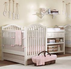 Love the bed, and the letters on the wall.   Antique Spindle Crib | Cribs | Restoration Hardware Baby & Child