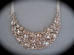 Bib Necklace Swarovski Crystal Bridal Statement Necklace by The Crystal Rose. $275.00, via Etsy.