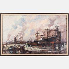 LOT 38 WIM BOSWim Bos, (b. 1941) - Industrial Harbor Scene, Medium: Oil on canvas, Dimensions: H: 24 W: 38 Est: $200-400 Signature Signed lower right.